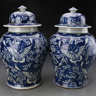 One Pair Beautiful Chinese Blue&White Porcelain Butterfly Hat-Covered Jar