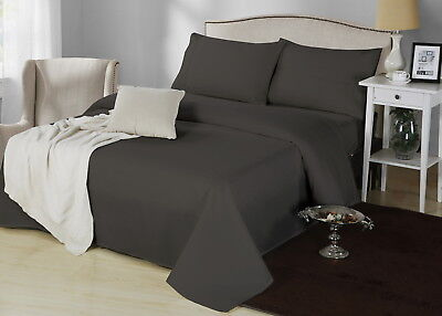 1000TC CVC Cotton Single Bed 3 Pieces Sheet Set Fitted Flat 5 Colours Easy Care