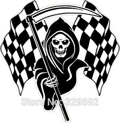 Racing Grim Reaper Skull Chequered Flags Wall Art Decal Home Decor