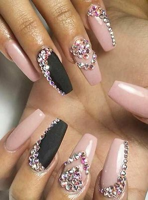 baby pink and black matte crystal coffin false nails hand painted