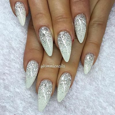 glossy white silver glitter rounded stiletto false nails hand painted