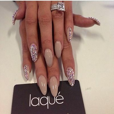 glossy nude crystal rounded stiletto false nails hand painted
