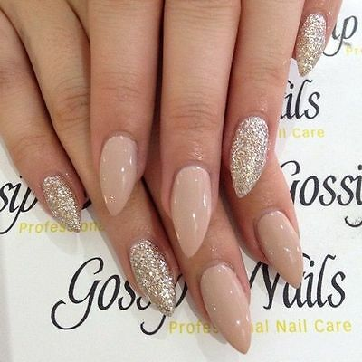 glossy nude and gold glitter stiletto false nails hand painted