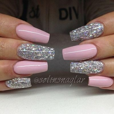 glossy baby pink glitter coffin false nails hand painted  small medium large