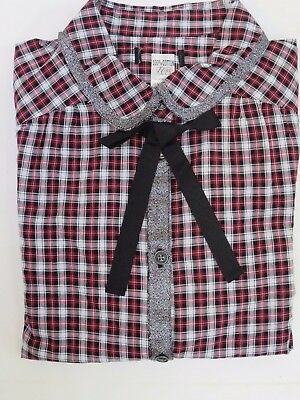 Girls shirt blouse check tartan bow  NEXT age 11 13 years  *NEW*