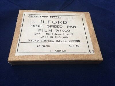 Ilford Emergency Supply War Time Shortage 12 Plates High Speed Pan WW2 Unopened