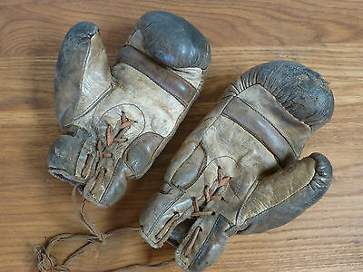 "Pair 1920,s Childs leather boxing gloves ""Though Ware"" Trade mark"