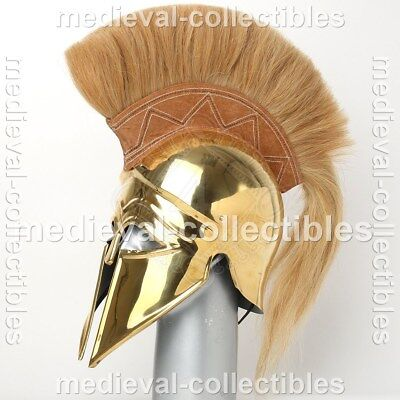 Sca Larp Medieval Greek Corinthian Brass Helmet With White Plume Gift Mcf001