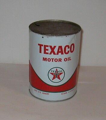 Vintage Texaco Motor Oil Tin Can Quart ( Empty )  FREE SHIPPING