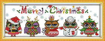 CHRISTMAS OWLS COUNTED CROSS STITCH KIT 14 COUNT AIDA 49x23CM