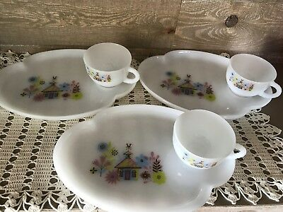Vintage Chalet Federal Glass Snack Set Cup Plate 1950's Milk Glass Set of Three