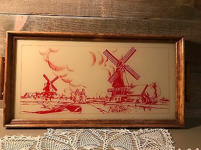 Vintage Red and White Glass Dutch Windmill Tray