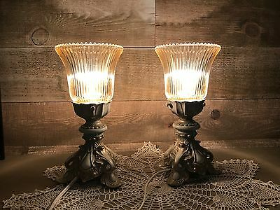 Vintage Tulip Shaped Accent Lamps Set of Two