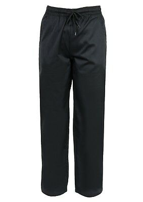 New Black Chefs Trousers, Unisex, Catering Uniform, Restaurant Staff, Ins01B