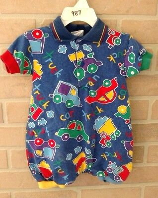 VINTAGE - BABY B'GOSH Transportation Romper Outfit - SIZE 6-9 MONTHS - Cute cars