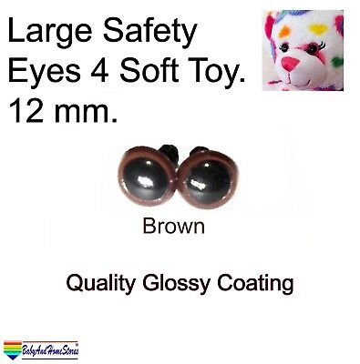 Large Safety Eyes For Teddy Bear Toy Making Supplies 12 mm (Brown & Black)