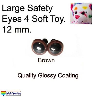 Safety Eyes For Teddy Bear Toy Making Supplies 12mm (Brown & Black)