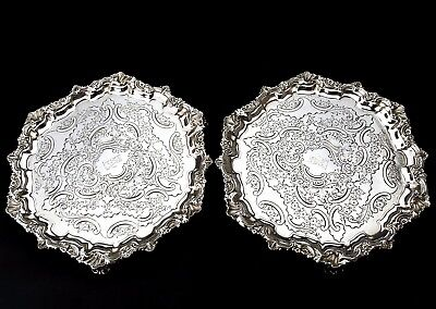PAIR, Ornate Victorian Solid Sterling Silver Salver/Tray London, 1895, 1010g.