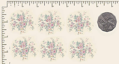 """6 x Circular Waterslide ceramic decals Pink Flowers Approx.1 3/4"""" x 1 1/2"""" PD894"""