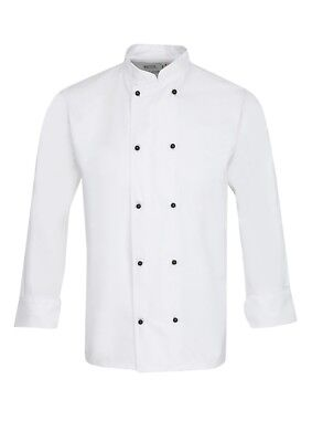 Chefs Jacket, Catering Uniform, White With Black Popper Buttons, Brand New Ins02