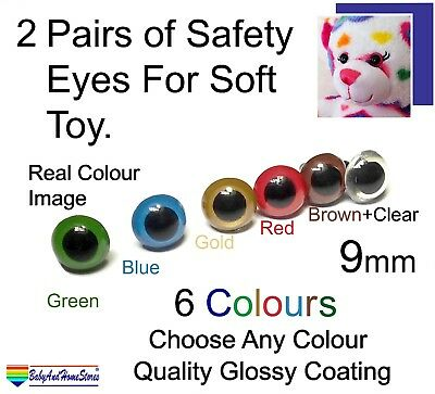 2 Pairs Safety Eyes For Teddy Bear Toy Making Supplies 9 mm (5 colours + Clear)