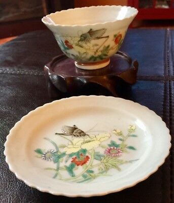 Guangxu Marked Cup & Saucer Famille Rose Porcelain Cricket From Estate Chinese