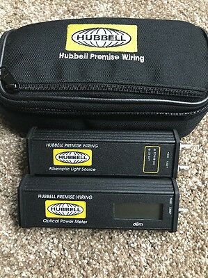 Hubbell OFPM813/OFLS813 Optical Power Meter and Fiberoptic Light Source w/Case