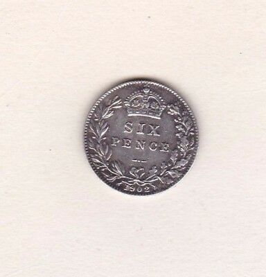 1902 Edward Vii Silver Sixpence In Near Extremely Fine Condition
