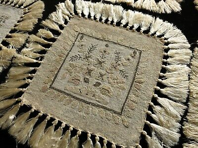 EXOTIC Antique Linen 6 Cocktail Napkins Fringed HAND EMBROIDERY ~OTTOMAN~