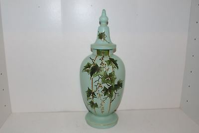 """Antique 16"""" Hand Painted Turquoise Blue Satin Bristol Glass Urn"""