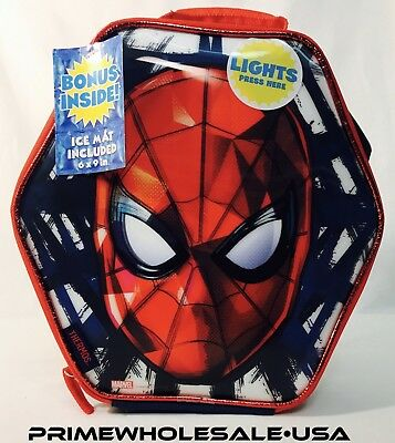 Light up Spiderman THERMOS Lunch Box W/Ice MAT INSULATED-school food container