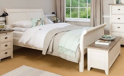 Devonshire Antique White Reclaimed Wood Distressed Sleigh Bed