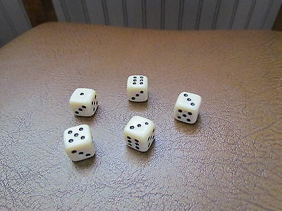 Set Of 5  Vintage Bone? Dice 15 Mm