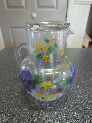 Cute Vintage Glass hand painted Water Carafe Tumbler Lid Bedside