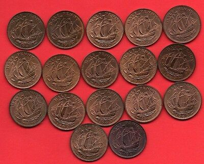 17 X Different Ship Halfpenny Coins Dated 1949 - 1967 In High Grade.