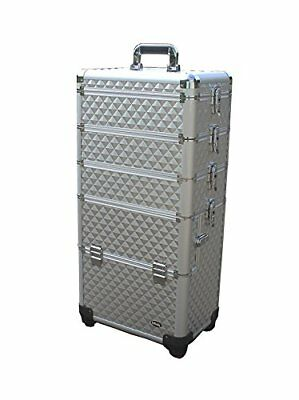 Professional 4 in 1 Rolling Makeup Train Case w/ 4 Wheels & Adjustable Dividers