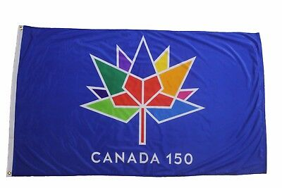 FLAG BANNER WITH  STICK CANADA 150 YEAR ANNIVERSARY 1867-2017 WHITE 12 X 18 IN