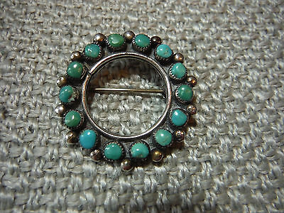 Vintage Native American Sterling Silver Round Pin Brooch W. Turquoise Stones 925