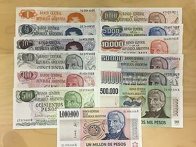 Argentina Banknotes Complete 1980's Set  13 Notes Uncirculated  Usa Seller