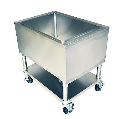 """BK Resources 30""""W x 21""""D x 29""""H Insulated Stainless Steel Mobile Ice Bin"""
