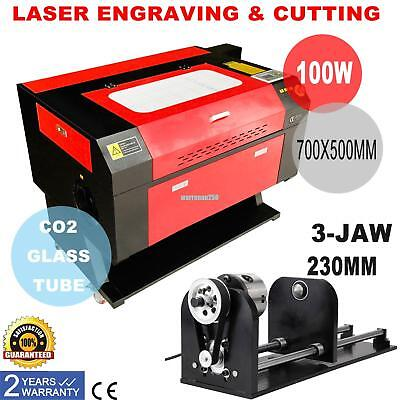 100W CO2 Laser Cutter Engraver Cutting & Engraving Machine w/ Router Rotary Axis