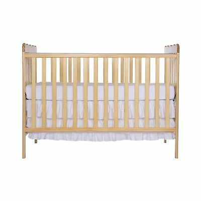 Dream On Me Classic 3 in 1 Convertible Stationary Side Crib Natural New