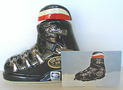 Snow Ski Boot Platinum Trim 1972 Brooks Decanter + Tri-Fold Brochure Postcard