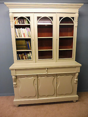 Antique Victorian Painted Country House Library Bookcase Circa 1880