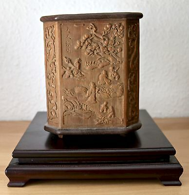 Chinesischer Holz Pinselwascher Pinselhalter Chinese brush pot holder China wood