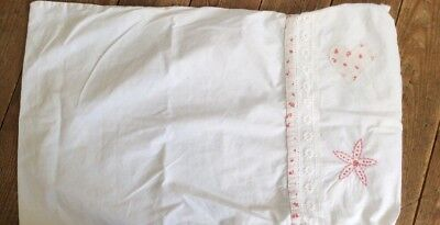 little white company  cot bed pillow case Appliqué Heart Flower Pink Girls