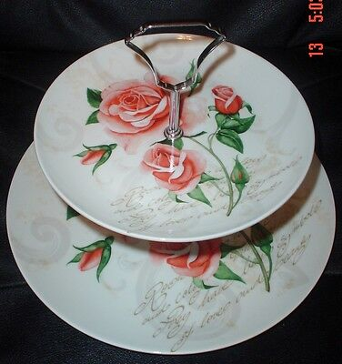 Very Pretty Two Tier Cake Stand Sandwich Plate PINK ROSES