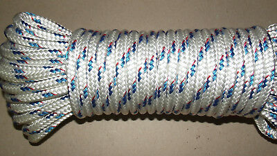 "3/8"" (10mm) x 34' Sail/Halyard Line, Double Braid Polyester, Jibsheet, Boat Rope"