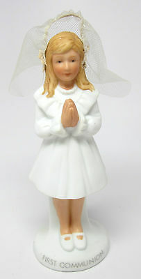 First Communion Girl Figurine with Net Veil by Roman 1985