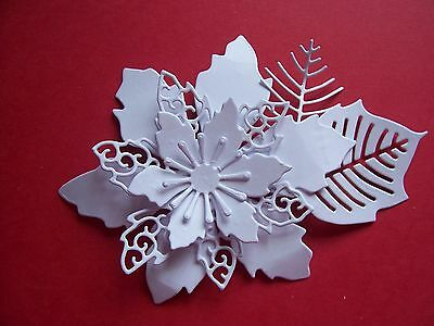 "Tattered Lace Christmas, Seasonal, Floral Die Cut Toppers ~ ""lavish Poinsettia"""